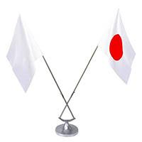 高級 ステンレス製 卓上国旗